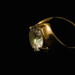 Gold Electroplated Ring With Solitaire Zirconium